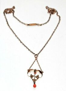 Art Nouveau coral & seed pearl 9 ct gold pendant on chain antique Edwardian