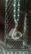 Silver Dragon Claw Crystal Ball Turquoise Beaded Pendant Necklace Steampunk Goth