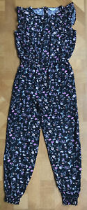 Primark Jumpsuit Age 11-12 100% Viscose Black Floral Good Condition