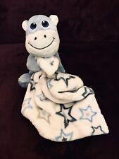 Little Beginnings Blue Stars Hippo Baby Blanket White Security Lovey