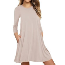 Women Lady Loose O-Neck A-Line Tops Long Sleeve Dress Shirt Casual T-Shirt Dress