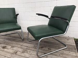 2x Drabert Stahlrohr Sessel Armchair + 2x Hocker Vintage Mid Century Bauhaus Ära