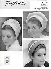 Vintage temptations 1274 knitting pattern book ladies hats beret cap beanie