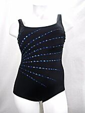 ff66ef5ff85f Longitude Plus Embellished Fan Tummy Control One Piece Swimsuit Blue 18W NWT
