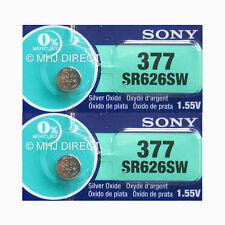 2 x Genuine SONY 377 SR626SW SR66 AG4 Watch Batteries Silver Oxide 0% Mercury