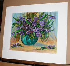 Original Acrylic on Paper by Emilio Pica  Floral Still Life Purple Flowers