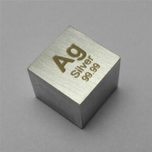 Silver Metal Density Cube 10mm 99.99% 10.5g for Element Collection