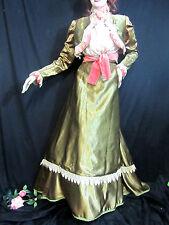 ANTIQUE Victorian GREEN SATIN coral velvet DRESS bustle SKIRT blouse TOP lace M