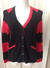 NWOT Joan Vass Sz 0 (4-6) Cardigan Sweater Red Black with Pockets Cotton
