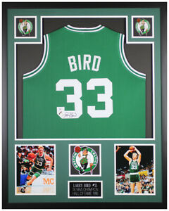 Larry Bird Autographed and Framed Green Celtics Jersey Auto Beckett