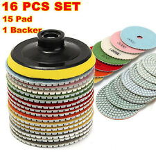 16 Piece Set 4 inch Diamond Polishing Pads Wet/Dry Granite Stone Concrete Marble