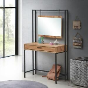 Zahra Urban Bedroom Dressing Vanity Makeup Table Mirror & Drawer Wotan Oak