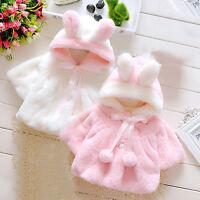Baby Girls Rabbit Ear Faux Fur Hooded Coat Jacket Winter Warm Outwear 0-24Months