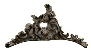 Antique French Hand Carved Wood Shell Rococo Ornate Pediment Crest Cornice