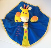 Mommy And Me Giraffe Baby Lovey Security Blanket Puppet Rattle Bright Plush