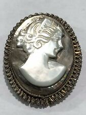 ANTIQUE STERLING SILVER CARVED MOTHER OF PEARL CAMEO PIN BROOCH PENDANT GODDESS