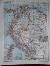 Landkarte Colombia, Venezuela, Ecuador, Peru, Bolivia, Brockhaus 1902