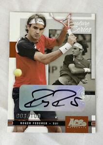 2005 Ace Authentic Tennis Roger Federer Signature Series AUTO Autograph 03/100