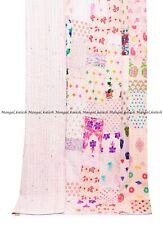 Kantha quilt handmade silk patchwork vintage khambhadia bedding bedspread single