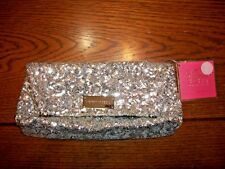 NWT VICTORIA SECRET SILVER SEQUIN GLAMOUR CLUTCH PURSE~COSMETIC EVENING BAG~