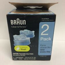 Braun Clean & Renew Refills - Lemon Fresh - 2 Cartridges - Clean & Charge - NOB