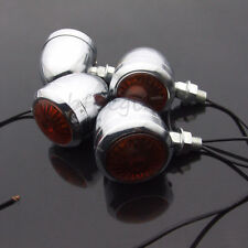 4x Motorcycle Turn Signal Indicator Light Bulb Lamp For Harley Cafe Racer Chrome