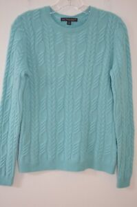 Brooks Brothers Turquoise 100% Cashmere Cable Knit Crew Neck Sweater Size S