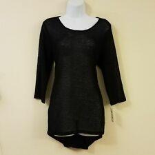 Alfani Sweater M Black Tunic Glitter Hi-Low 3/4 Sleeves Medium Womens New