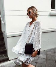 BNWT Zara Oversized Embroidered Tunic Dress Tassel One Size M ref 1381/025