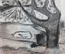 Vintage charcoal drawing landscape tree
