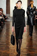 Ralph Lauren ' Megan' Black Leather-Sleeve Dress Sz:4 Retail $4,498 NEW