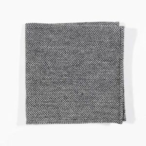 J.CREW Pocket Square Wool Black Herringbone Vintage Wedding Handkerchief 13x13