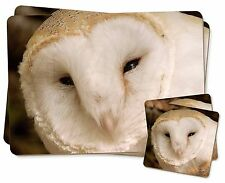 White Barn Owl Twin 2x Placemats+2x Coasters Set in Gift Box, AB-O20PC