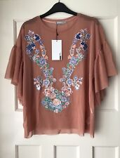 Zara Pink Frilled Sheer Tulle Embroidered Top T-shirt Blouse Size S