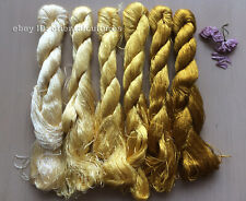 6bundles 100%natural mulberry silk,hand-dyed embroidery yellow silk floss/thread