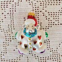 Christmas Tree Ornament Hippo Hearts Glitter 3.5 x 3
