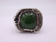 Solid Silver Ring 925 Hallmark & Signed size 59 Jade OLY Style