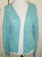 VTG 90s Blue USA Made Knit Long Sleeve Open Front Boho Indie Cardigan Sweater L