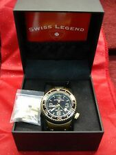 SWISS LEGEND NEPTUNE MEN'S WRISTWATCH - DIVE STYLE STAINLESS STEEL W/GOLD TONE