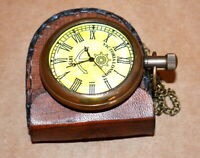 Vintage antique maritime brass pocket watch victoria london with leather box