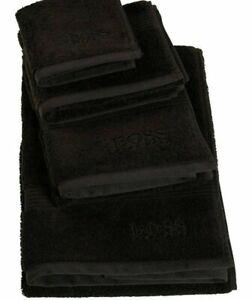"One Hugo Boss Yves Delorme Loft Solid Black Cotton Terry Bath Towel 28""x 55"" NWT"