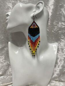 Native American Style Earrings Beaded Jewellery Handmade UK Many colours Fringed