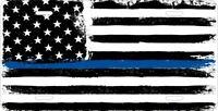 USA Flag Thin Blue Line Police Auto Car Tag License Plate Aluminum