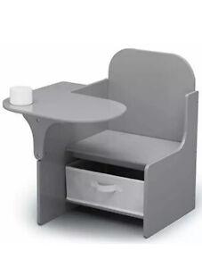 Delta Children MySize Chair Desk with Storage Bin Grey Brand New