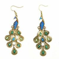 BT Retro Blue Rhinestone Crystal Dangle Prancing Peacock Hook Earrings