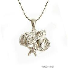 New .925 Sterling Silver Seashell Starfish Cluster Pendant Necklace