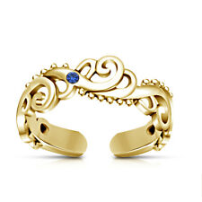14k Yellow Gold Finish Sapphire Women's Wave Adjustable Toe Ring Beach jewelry