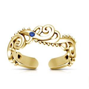 10k Yellow Gold Finish Sapphire Women's Wave Adjustable Toe Ring Beach jewelry