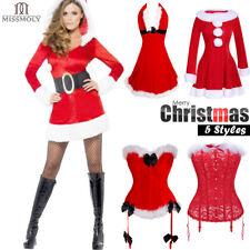 Women Santa Xmas Fancy Sexy Lingerie Corset Bustier Costume Christmas Dress Top