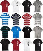 Aeropostale Mens AERO Solid or Stripe  logo Polo Shirt XS,S,M,L,XL,2XL,3XL NEW!